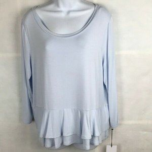 Ivanka Trump XL Blue Ruffle Blouse Career Top Work